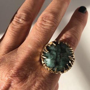 Sheila Fajl jade cocktail ring 18k gold over brass